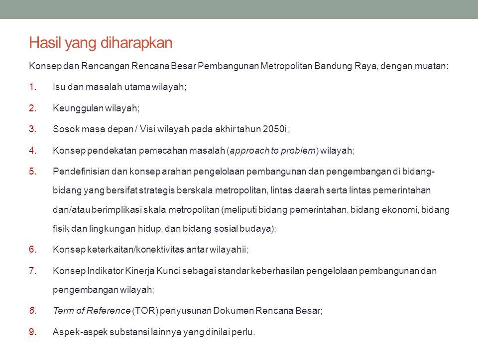 Hasil yang diharapkan Konsep dan Rancangan Rencana Besar Pembangunan Metropolitan Bandung Raya, dengan muatan: 1.Isu dan masalah utama wilayah; 2.Keun