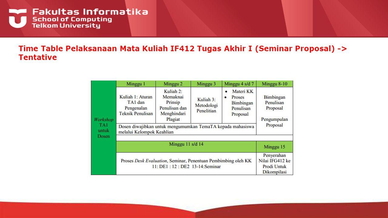 12-CRS-0106 REVISED 8 FEB 2013 Time Table Pelaksanaan Mata Kuliah IF412 Tugas Akhir I (Seminar Proposal) -> Tentative