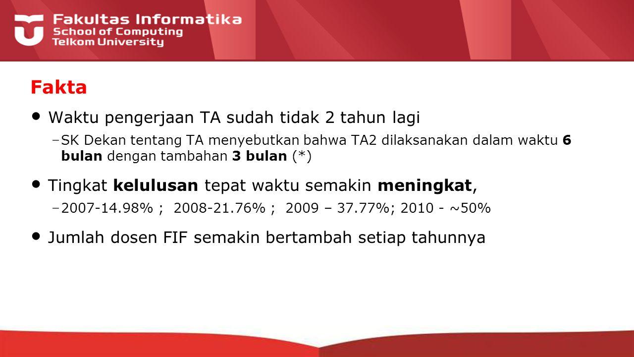 12-CRS-0106 REVISED 8 FEB 2013 Waktu pengerjaan TA sudah tidak 2 tahun lagi –SK Dekan tentang TA menyebutkan bahwa TA2 dilaksanakan dalam waktu 6 bulan dengan tambahan 3 bulan (*) Tingkat kelulusan tepat waktu semakin meningkat, –2007-14.98% ; 2008-21.76% ; 2009 – 37.77%; 2010 - ~50% Jumlah dosen FIF semakin bertambah setiap tahunnya Fakta