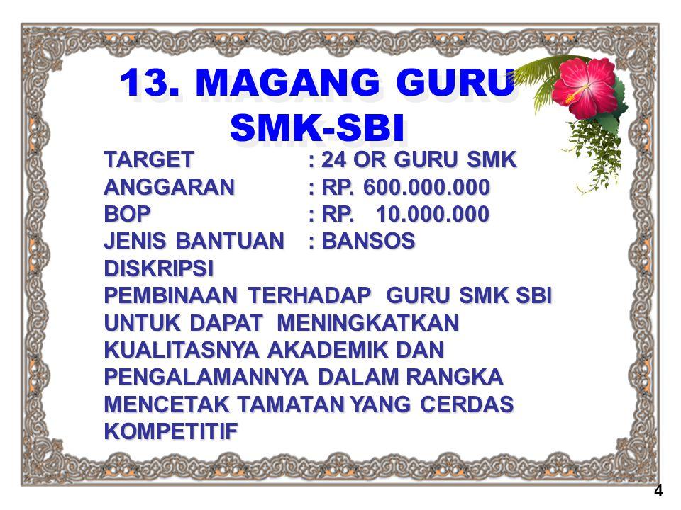 13. MAGANG GURU SMK-SBI TARGET: 24 OR GURU SMK ANGGARAN: RP. 600.000.000 BOP: RP. 10.000.000 JENIS BANTUAN : BANSOS DISKRIPSI PEMBINAAN TERHADAP GURU