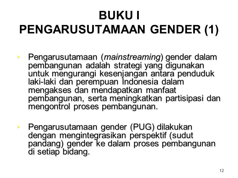 12 BUKU I PENGARUSUTAMAAN GENDER (1) Pengarusutamaan (mainstreaming) gender dalam pembangunan adalah strategi yang digunakan untuk mengurangi kesenjan