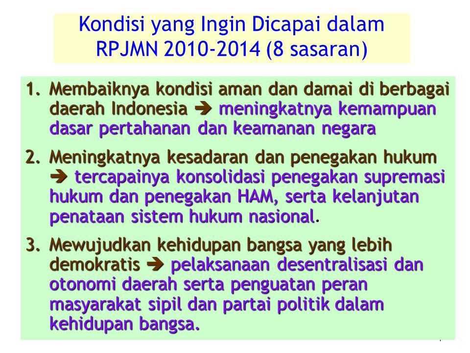 4 4 1.Membaiknya kondisi aman dan damai di berbagai daerah Indonesia  meningkatnya kemampuan dasar pertahanan dan keamanan negara 2.Meningkatnya kesa