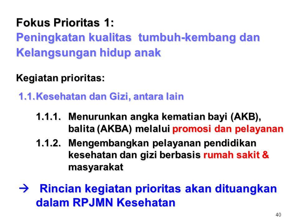 40 Fokus Prioritas 1: Peningkatan kualitas tumbuh-kembang dan Kelangsungan hidup anak Kegiatan prioritas: 1.1.Kesehatan dan Gizi, antara lain 1.1.1.Me