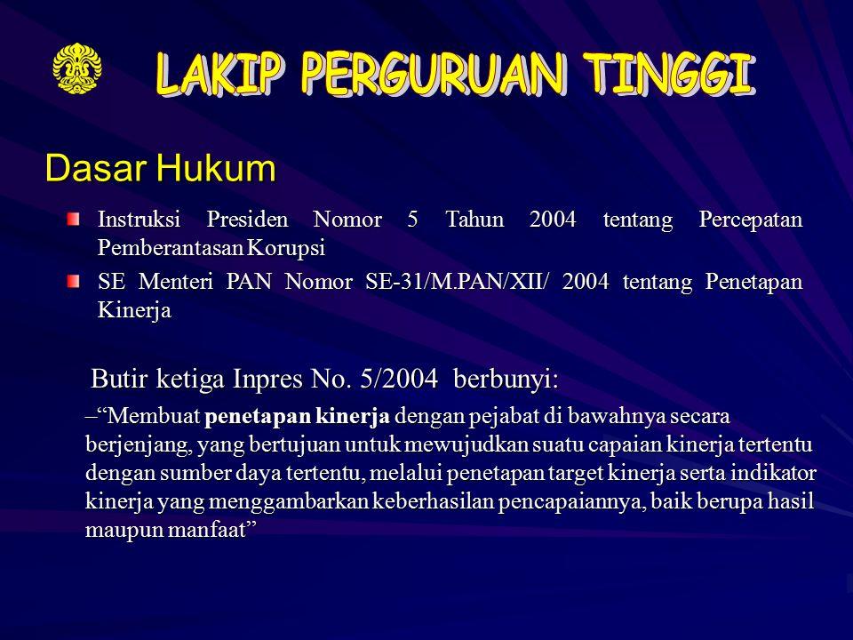 Dasar Hukum Instruksi Presiden Nomor 5 Tahun 2004 tentang Percepatan Pemberantasan Korupsi SE Menteri PAN Nomor SE-31/M.PAN/XII/ 2004 tentang Penetapa