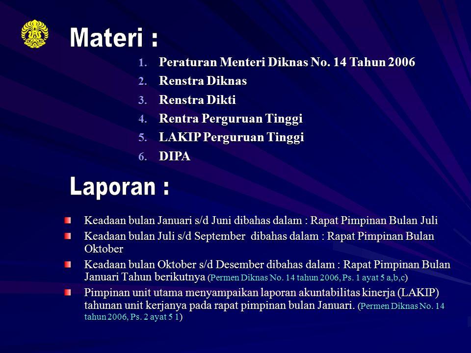 1. Peraturan Menteri Diknas No. 14 Tahun 2006 2. Renstra Diknas 3. Renstra Dikti 4. Rentra Perguruan Tinggi 5. LAKIP Perguruan Tinggi 6. DIPA Keadaan