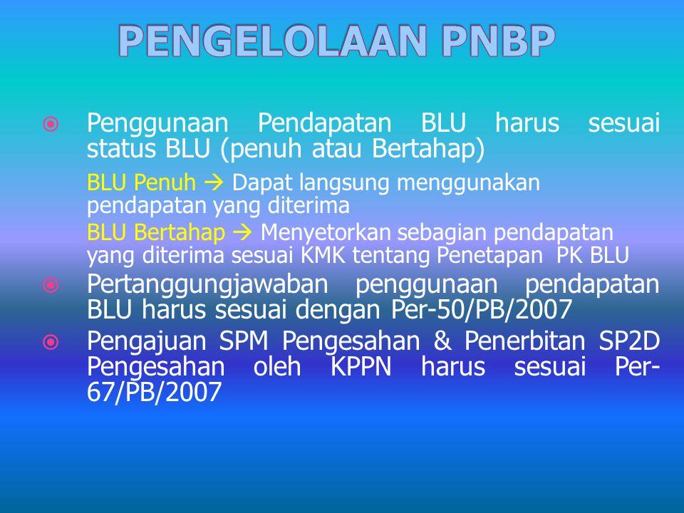  Penggunaan Pendapatan BLU harus sesuai status BLU (penuh atau Bertahap) BLU Penuh  Dapat langsung menggunakan pendapatan yang diterima BLU Bertahap