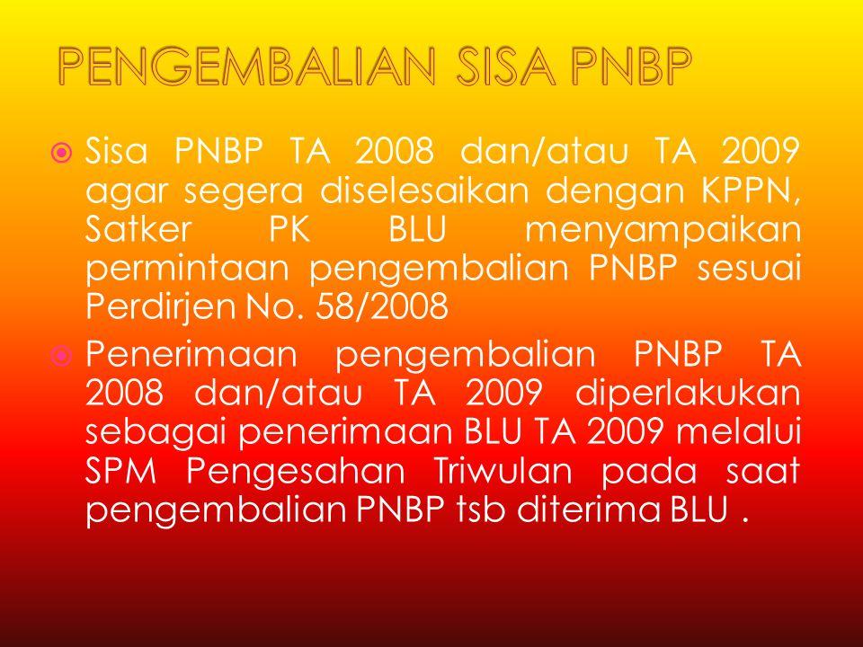  Sisa PNBP TA 2008 dan/atau TA 2009 agar segera diselesaikan dengan KPPN, Satker PK BLU menyampaikan permintaan pengembalian PNBP sesuai Perdirjen No