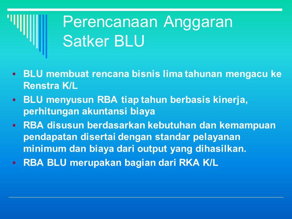 Perencanaan Anggaran Satker BLU  BLU membuat rencana bisnis lima tahunan mengacu ke Renstra K/L  BLU menyusun RBA tiap tahun berbasis kinerja, perhitungan akuntansi biaya  RBA disusun berdasarkan kebutuhan dan kemampuan pendapatan disertai dengan standar pelayanan minimum dan biaya dari output yang dihasilkan.