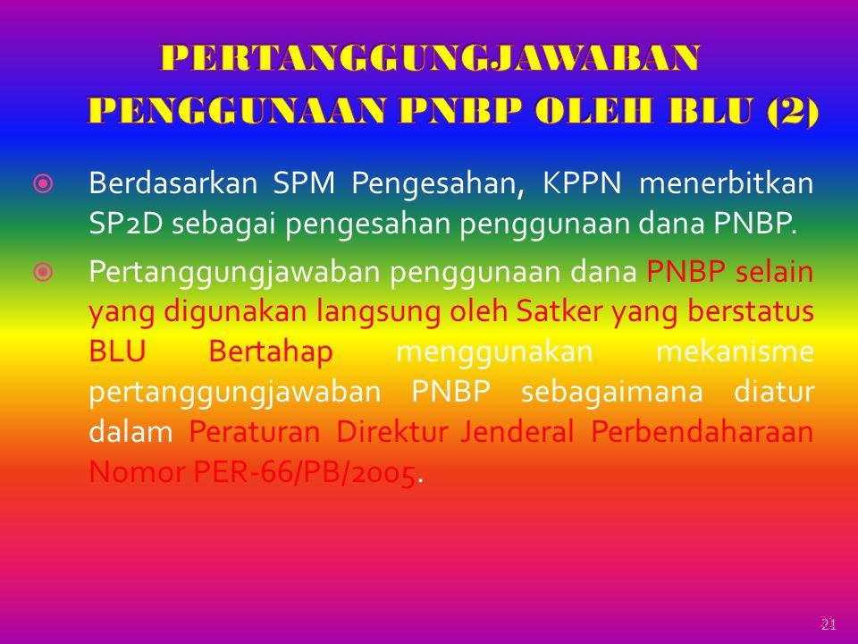 21  Berdasarkan SPM Pengesahan, KPPN menerbitkan SP2D sebagai pengesahan penggunaan dana PNBP.  Pertanggungjawaban penggunaan dana PNBP selain yang