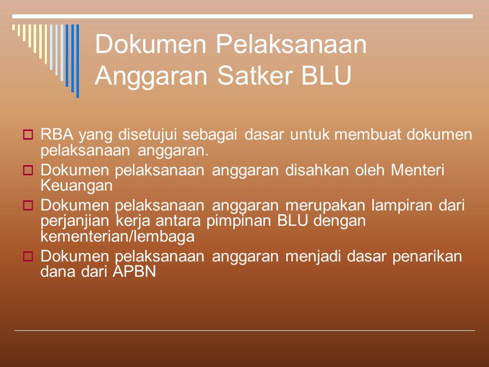Dokumen Pelaksanaan Anggaran Satker BLU  RBA yang disetujui sebagai dasar untuk membuat dokumen pelaksanaan anggaran.  Dokumen pelaksanaan anggaran