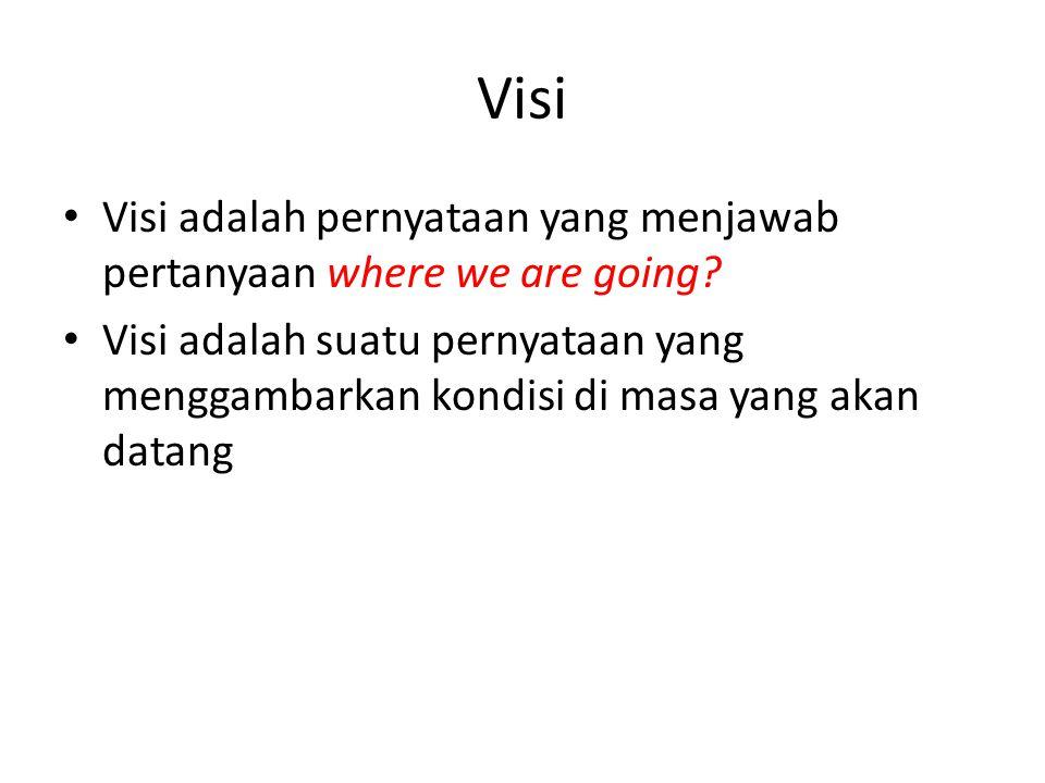 Visi Visi adalah pernyataan yang menjawab pertanyaan where we are going? Visi adalah suatu pernyataan yang menggambarkan kondisi di masa yang akan dat