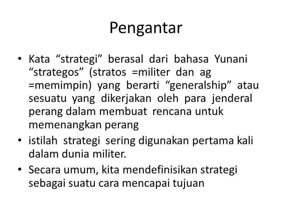 """Pengantar Kata """"strategi"""" berasal dari bahasa Yunani """"strategos"""" (stratos =militer dan ag =memimpin) yang berarti """"generalship"""" atau sesuatu yang dike"""