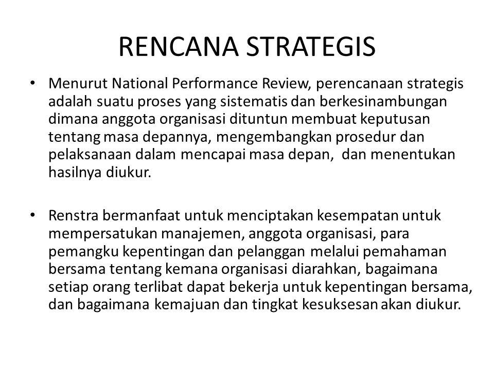 RENCANA STRATEGIS Menurut National Performance Review, perencanaan strategis adalah suatu proses yang sistematis dan berkesinambungan dimana anggota o