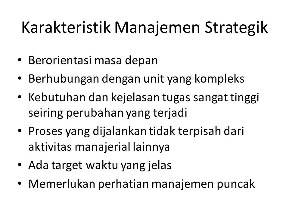 Karakteristik Manajemen Strategik Berorientasi masa depan Berhubungan dengan unit yang kompleks Kebutuhan dan kejelasan tugas sangat tinggi seiring pe