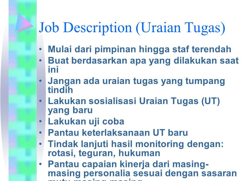 Job Description (Uraian Tugas) Mulai dari pimpinan hingga staf terendah Buat berdasarkan apa yang dilakukan saat ini Jangan ada uraian tugas yang tump