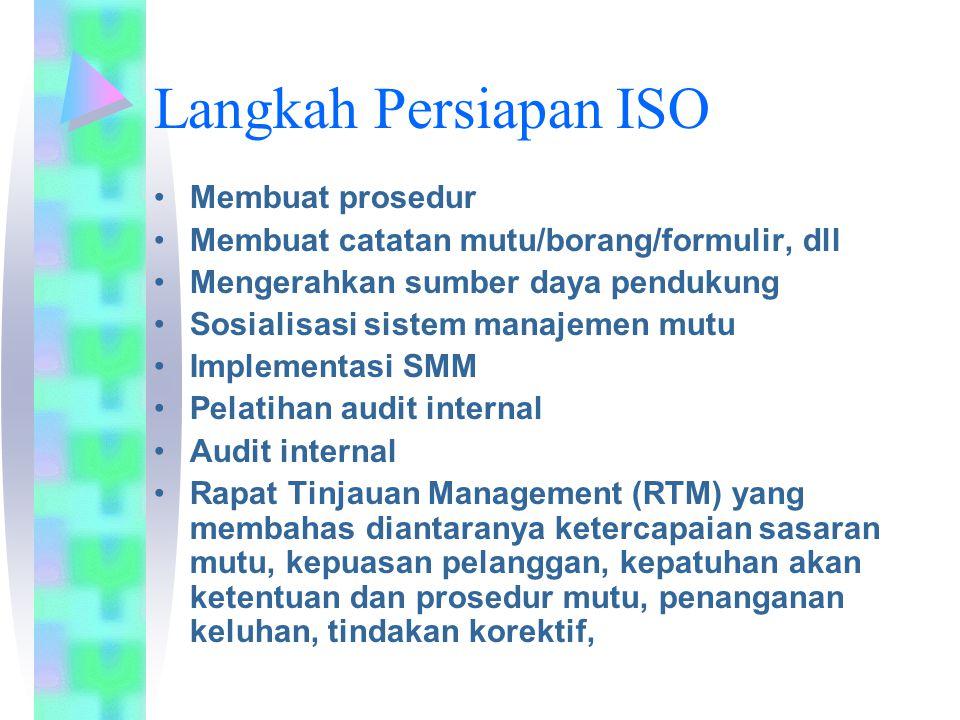 Langkah Persiapan ISO Membuat prosedur Membuat catatan mutu/borang/formulir, dll Mengerahkan sumber daya pendukung Sosialisasi sistem manajemen mutu I