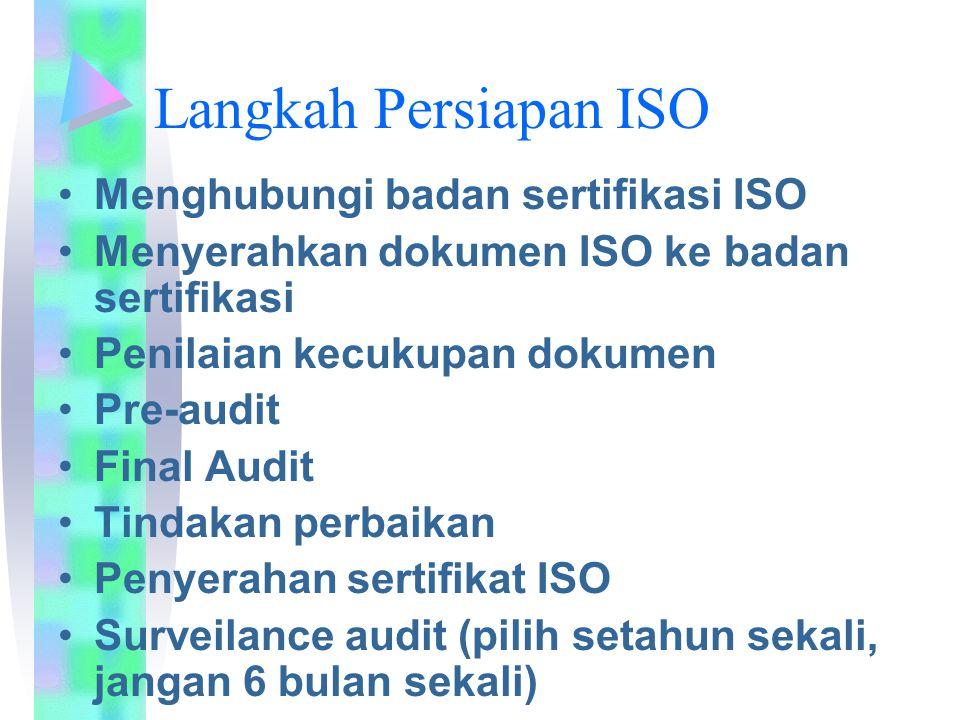 Langkah Persiapan ISO Menghubungi badan sertifikasi ISO Menyerahkan dokumen ISO ke badan sertifikasi Penilaian kecukupan dokumen Pre-audit Final Audit