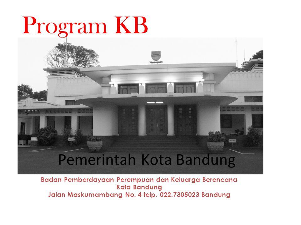 Badan Pemberdayaan Perempuan dan Keluarga Berencana Kota Bandung Jalan Maskumambang No. 4 telp. 022.7305023 Bandung Program KB Pemerintah Kota Bandung