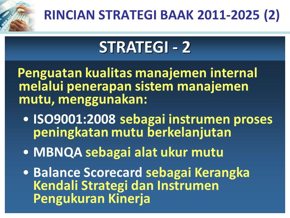 RINCIAN STRATEGI BAAK 2011-2025 (2) Penguatan kualitas manajemen internal melalui penerapan sistem manajemen mutu, menggunakan: ISO9001:2008 sebagai i
