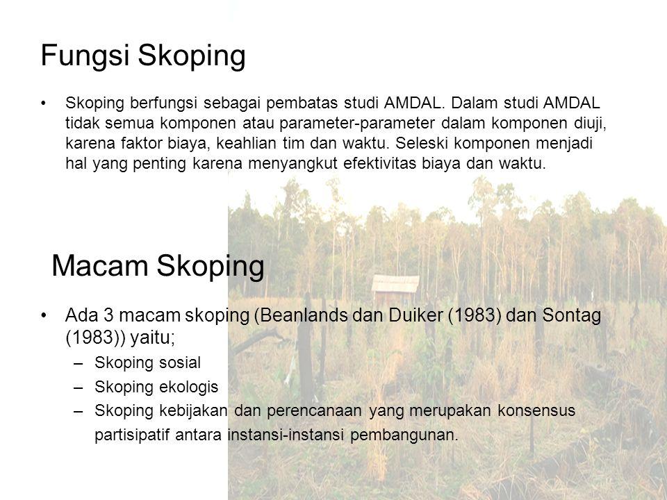 Proses Skoping Identifikasi dampak penting atau masalah utama dari suatu proyek atau usulan proyek Menetapkan komponen-komponen lingkungan yang akan terkena dampak nyata hasil identifikasi komponen pada rona lingkungan.