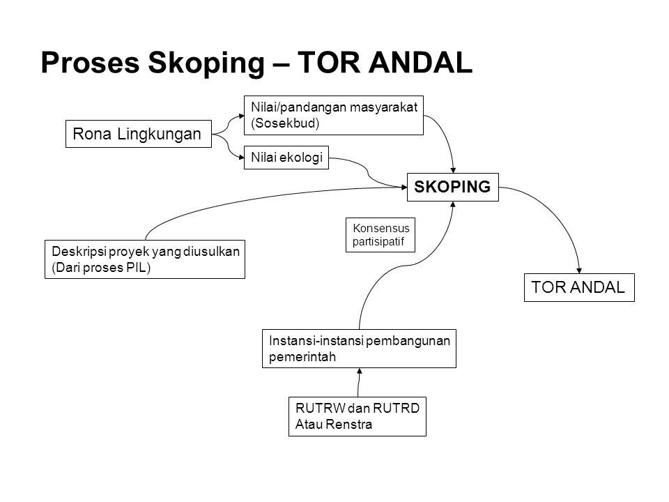 Proses Skoping – TOR ANDAL Rona Lingkungan Deskripsi proyek yang diusulkan (Dari proses PIL) Nilai/pandangan masyarakat (Sosekbud) Nilai ekologi Insta