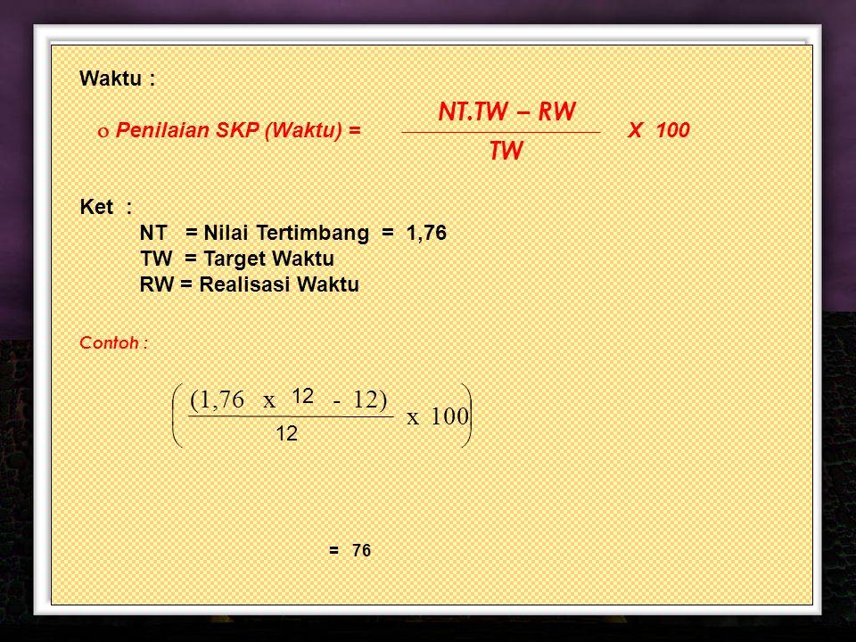 12 Waktu :  Penilaian SKP (Waktu) = X 100 Ket : NT = Nilai Tertimbang = 1,76 TW = Target Waktu RW = Realisasi Waktu Contoh : NT.TW – RW TW       100 x 12 12) - 12 x(1,76 = 76