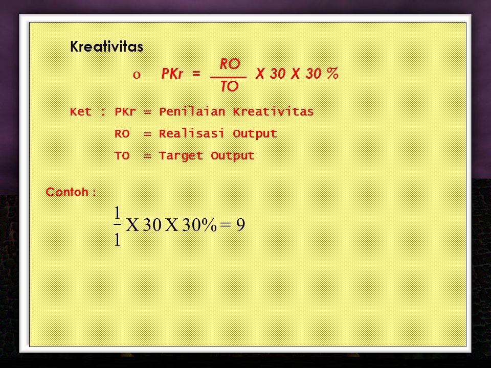 16 Kreativitas  PKr = X 30 X 30 % Ket : PKr = Penilaian Kreativitas RO = Realisasi Output TO = Target Output Contoh : RO TO = 9 30% X 30 X 1 1