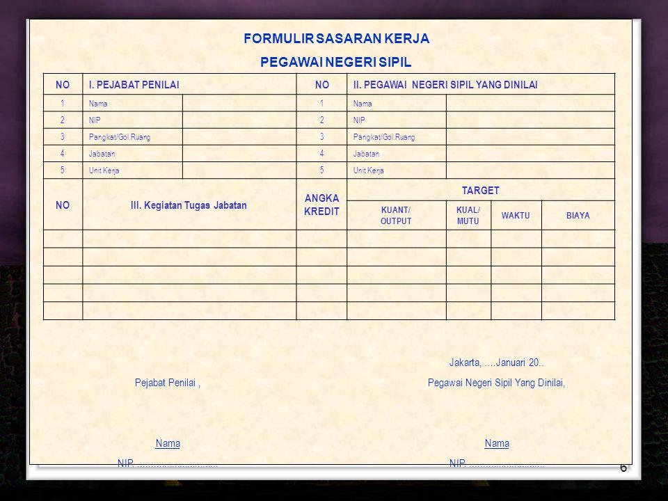 6 FORMULIR SASARAN KERJ A PEGAWAI NEGERI SIPIL Jakarta, ….Januari 20.. Pejabat Penilai,Pegawai Negeri Sipil Yang Dinilai, Nama NIP....................