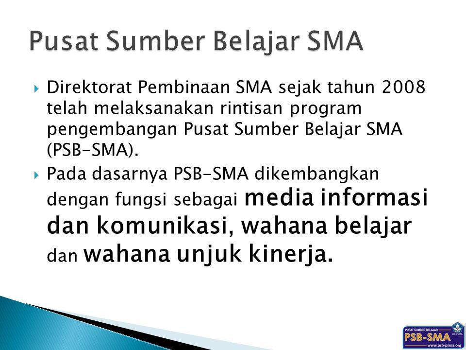  Direktorat Pembinaan SMA sejak tahun 2008 telah melaksanakan rintisan program pengembangan Pusat Sumber Belajar SMA (PSB-SMA).