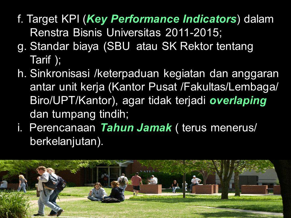 f. Target KPI (Key Performance Indicators) dalam Renstra Bisnis Universitas 2011-2015; g. Standar biaya (SBU atau SK Rektor tentang Tarif ); h. Sinkro