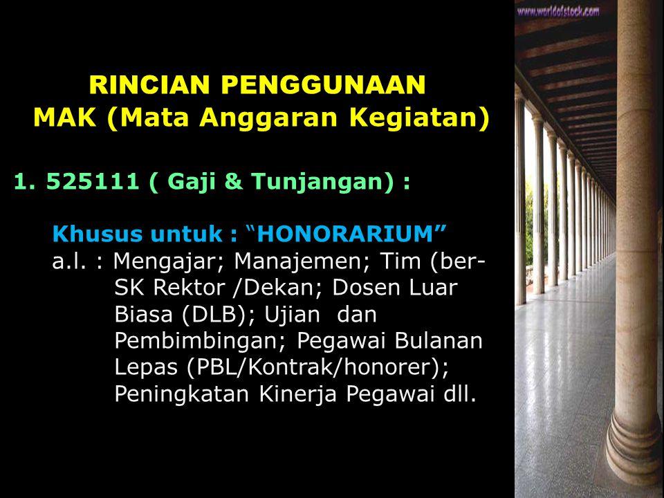 """RINCIAN PENGGUNAAN MAK (Mata Anggaran Kegiatan) 1.525111 ( Gaji & Tunjangan) : Khusus untuk : """"HONORARIUM"""" a.l. : Mengajar; Manajemen; Tim (ber- SK Re"""