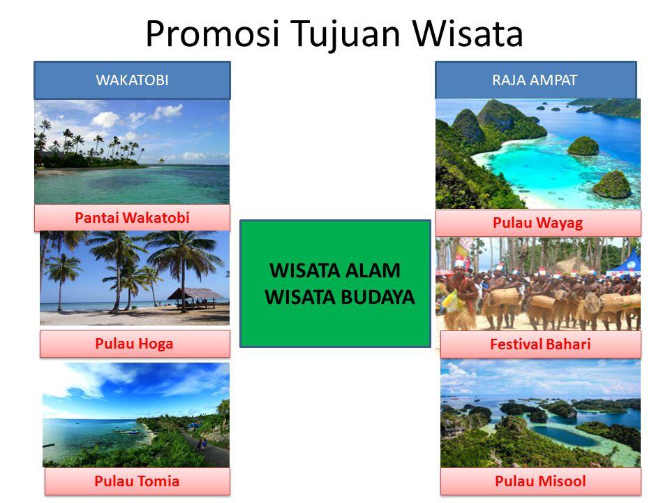 Promosi Tujuan Wisata Pantai Wakatobi Pulau Tomia Pulau Hoga WAKATOBIRAJA AMPAT Pulau Wayag Pulau Misool Festival Bahari WISATA ALAM WISATA BUDAYA