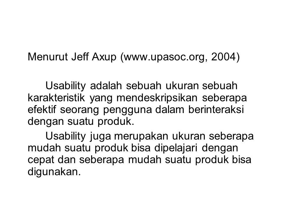 Menurut Jeff Axup (www.upasoc.org, 2004) Usability adalah sebuah ukuran sebuah karakteristik yang mendeskripsikan seberapa efektif seorang pengguna da