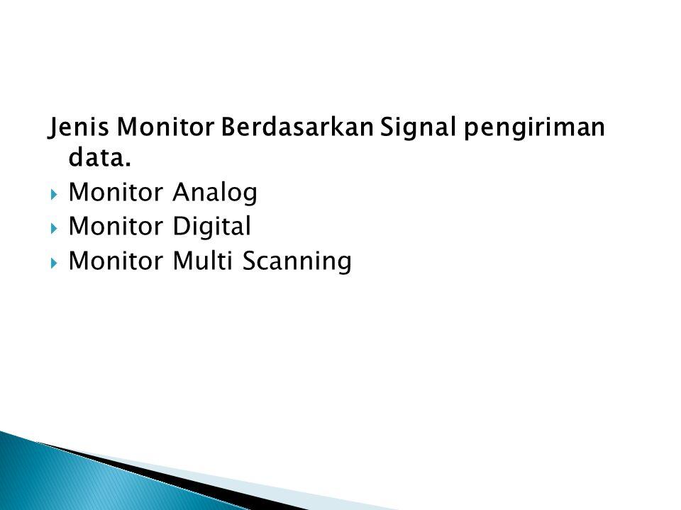 Jenis Monitor Berdasarkan Signal pengiriman data.  Monitor Analog  Monitor Digital  Monitor Multi Scanning