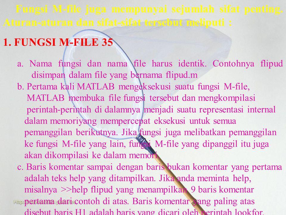 Fungsi M-File Fungsi M-file hampir sama dengan script file dimana keduanya merupakan suatu file teks dengan ekstensi.m. Fungsi M-file ini tidak dimasu