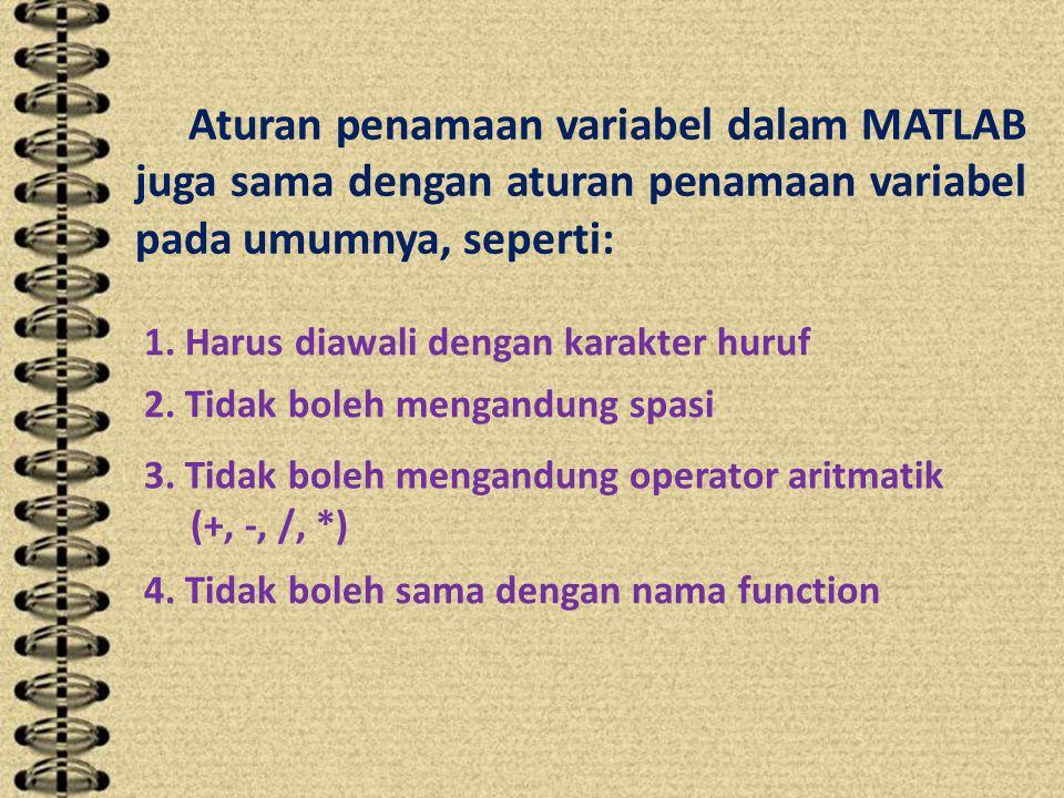 Aturan penamaan variabel dalam MATLAB juga sama dengan aturan penamaan variabel pada umumnya, seperti: 1.