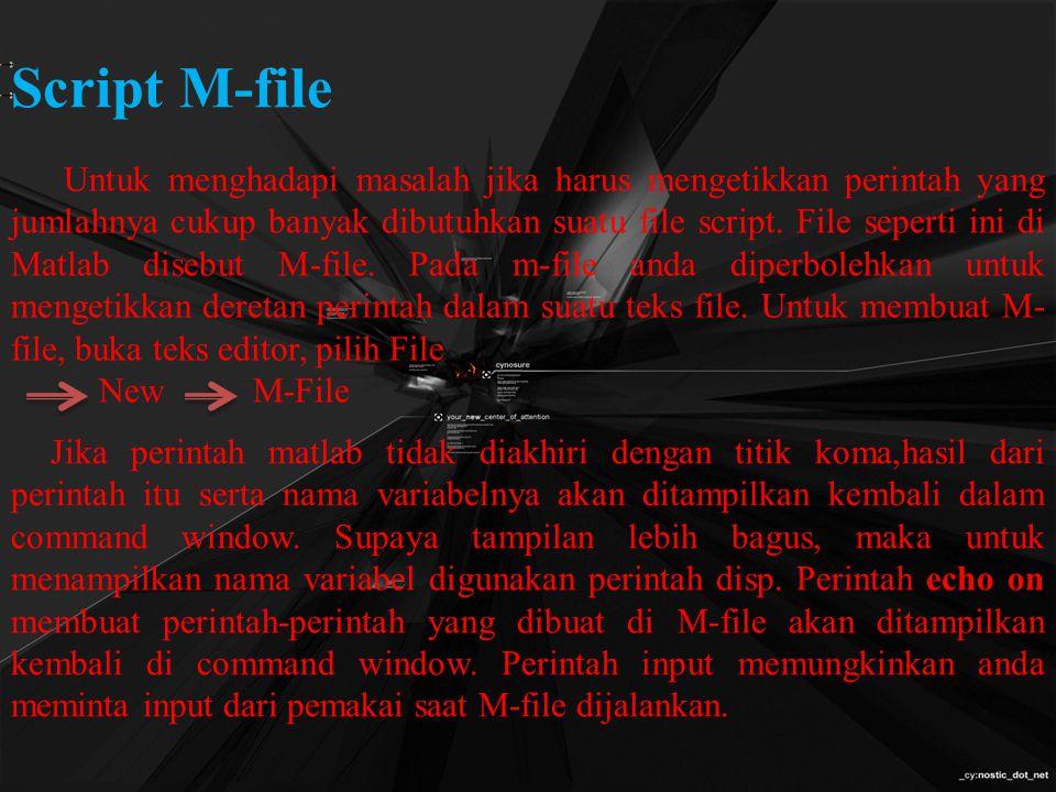 Script M-file Untuk menghadapi masalah jika harus mengetikkan perintah yang jumlahnya cukup banyak dibutuhkan suatu file script.