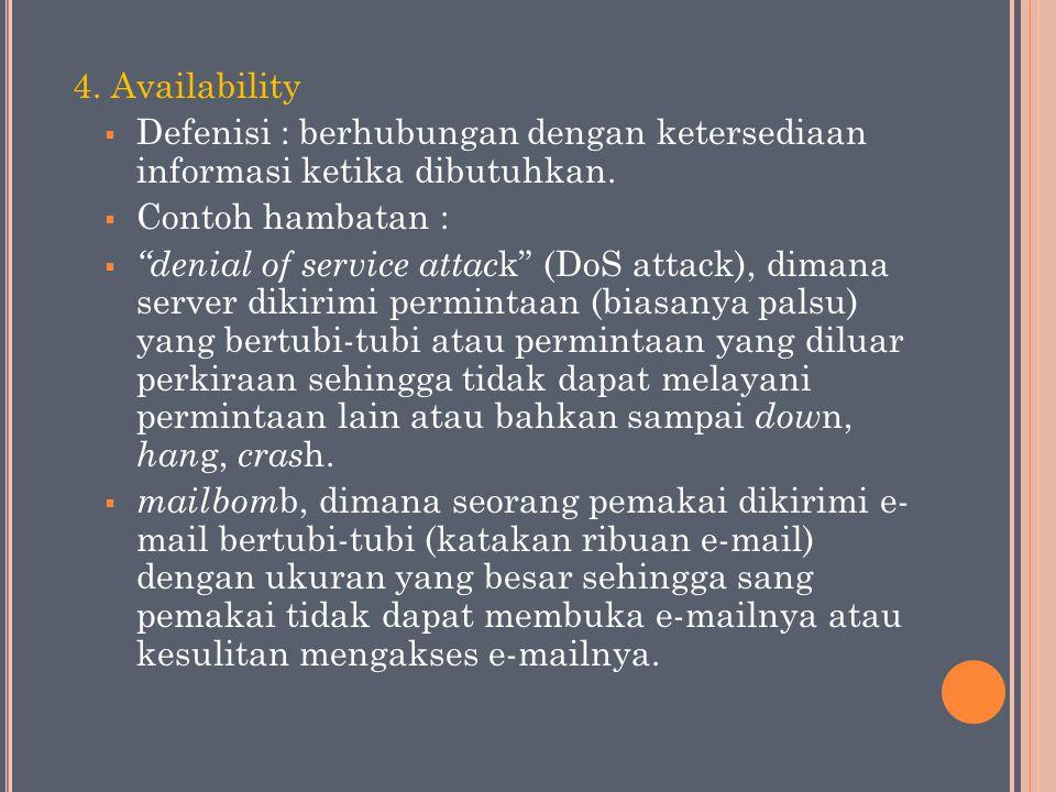 """4. Availability  Defenisi : berhubungan dengan ketersediaan informasi ketika dibutuhkan.  Contoh hambatan :  """"denial of service attac k"""" (DoS attac"""