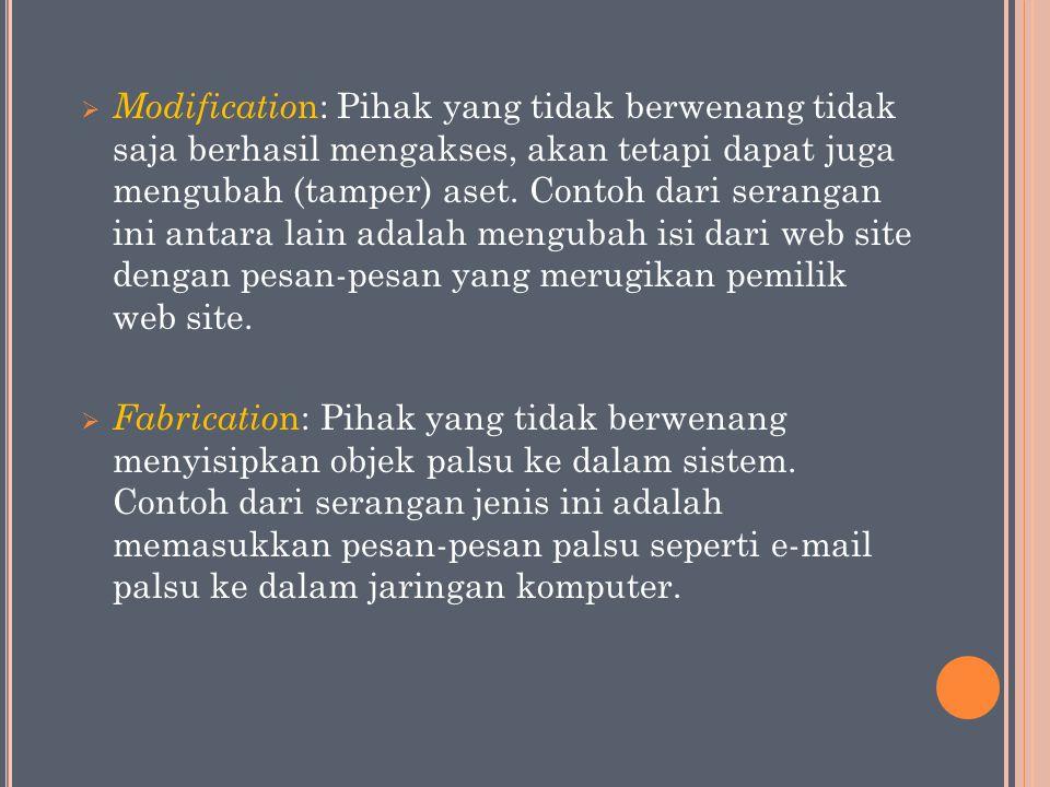  Modificatio n: Pihak yang tidak berwenang tidak saja berhasil mengakses, akan tetapi dapat juga mengubah (tamper) aset. Contoh dari serangan ini ant