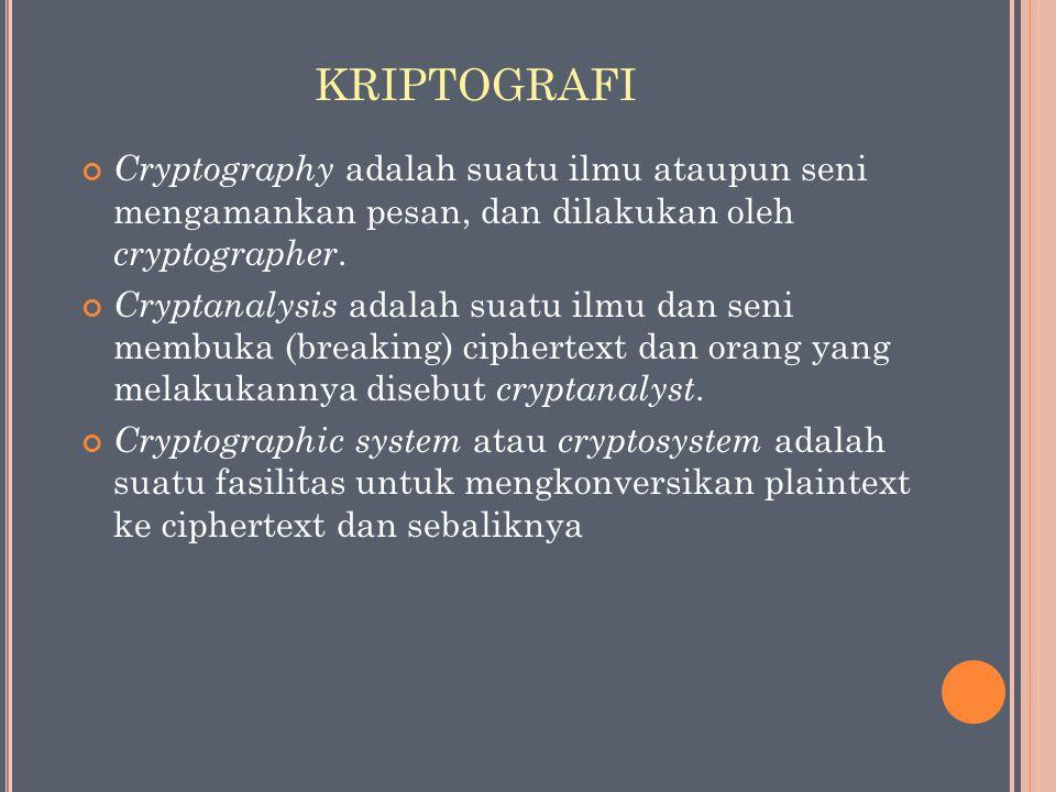 KRIPTOGRAFI Cryptography adalah suatu ilmu ataupun seni mengamankan pesan, dan dilakukan oleh cryptographer. Cryptanalysis adalah suatu ilmu dan seni