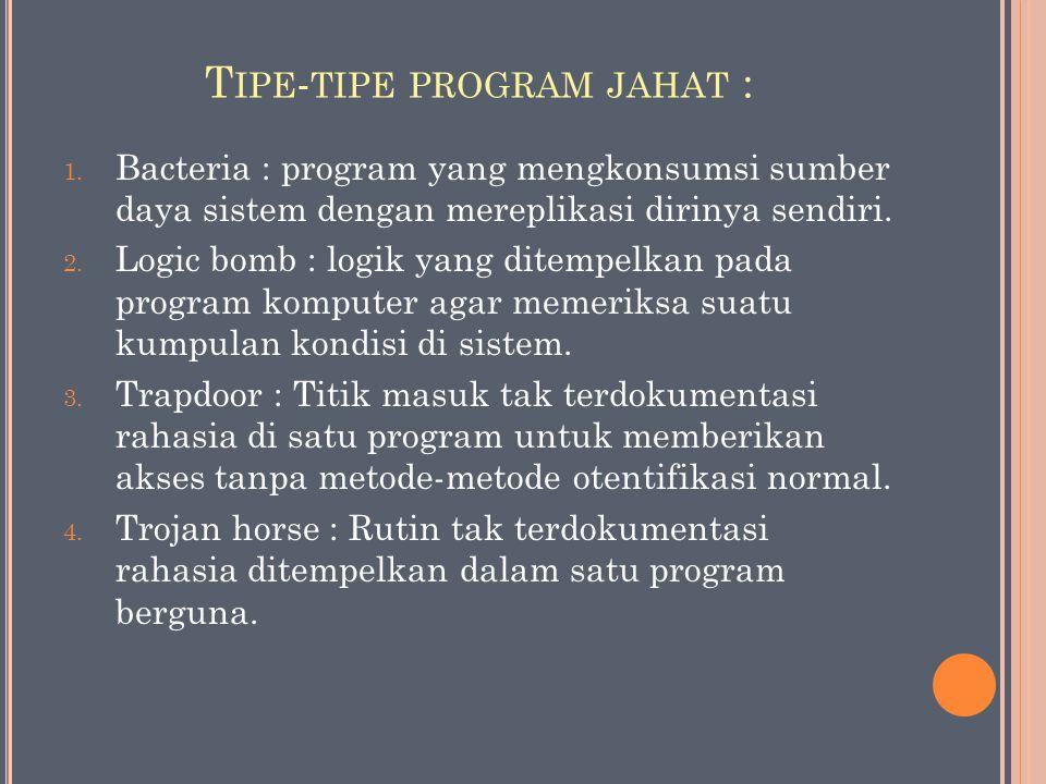 T IPE - TIPE PROGRAM JAHAT : 1. Bacteria : program yang mengkonsumsi sumber daya sistem dengan mereplikasi dirinya sendiri. 2. Logic bomb : logik yang