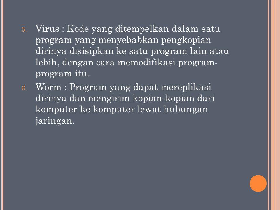 5. Virus : Kode yang ditempelkan dalam satu program yang menyebabkan pengkopian dirinya disisipkan ke satu program lain atau lebih, dengan cara memodi