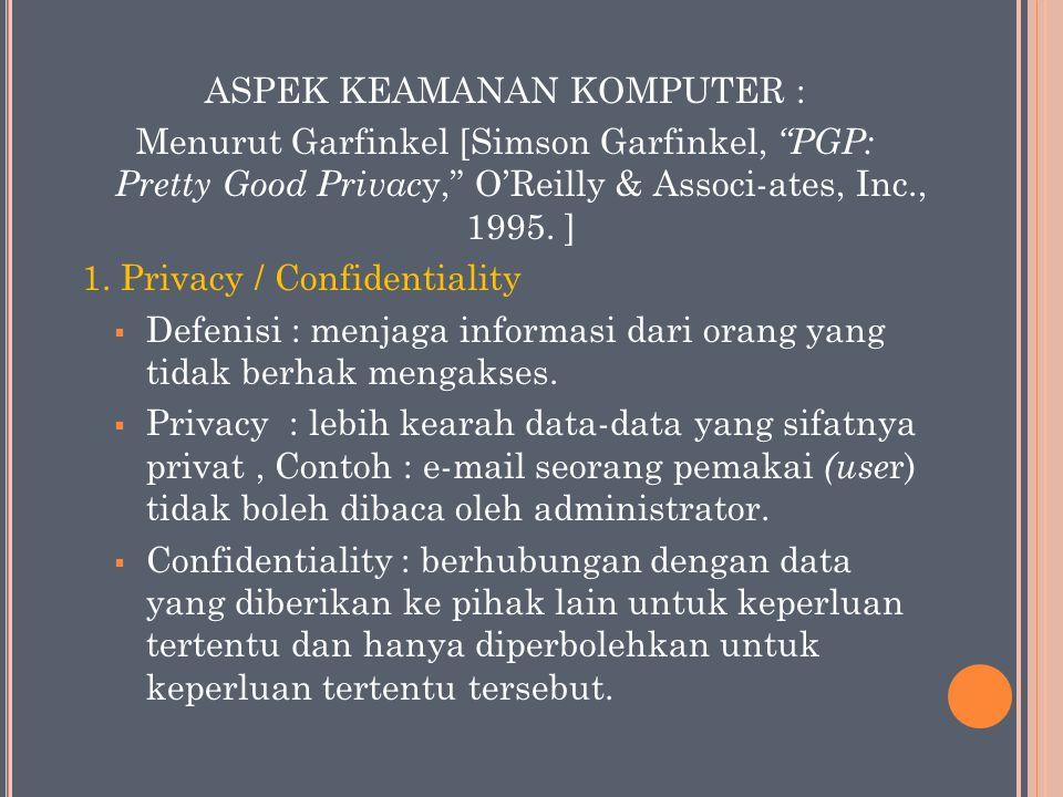 "ASPEK KEAMANAN KOMPUTER : Menurut Garfinkel [Simson Garfinkel, ""PGP: Pretty Good Privac y,"" O'Reilly & Associ-ates, Inc., 1995. ] 1. Privacy / Confide"