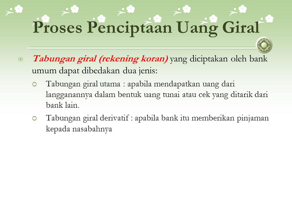 Proses Penciptaan Uang Giral  Tabungan giral (rekening koran) yang diciptakan oleh bank umum dapat dibedakan dua jenis:  Tabungan giral utama : apab