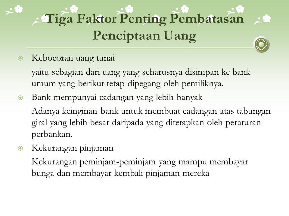 Tiga Faktor Penting Pembatasan Penciptaan Uang  Kebocoran uang tunai yaitu sebagian dari uang yang seharusnya disimpan ke bank umum yang berikut tetap dipegang oleh pemiliknya.