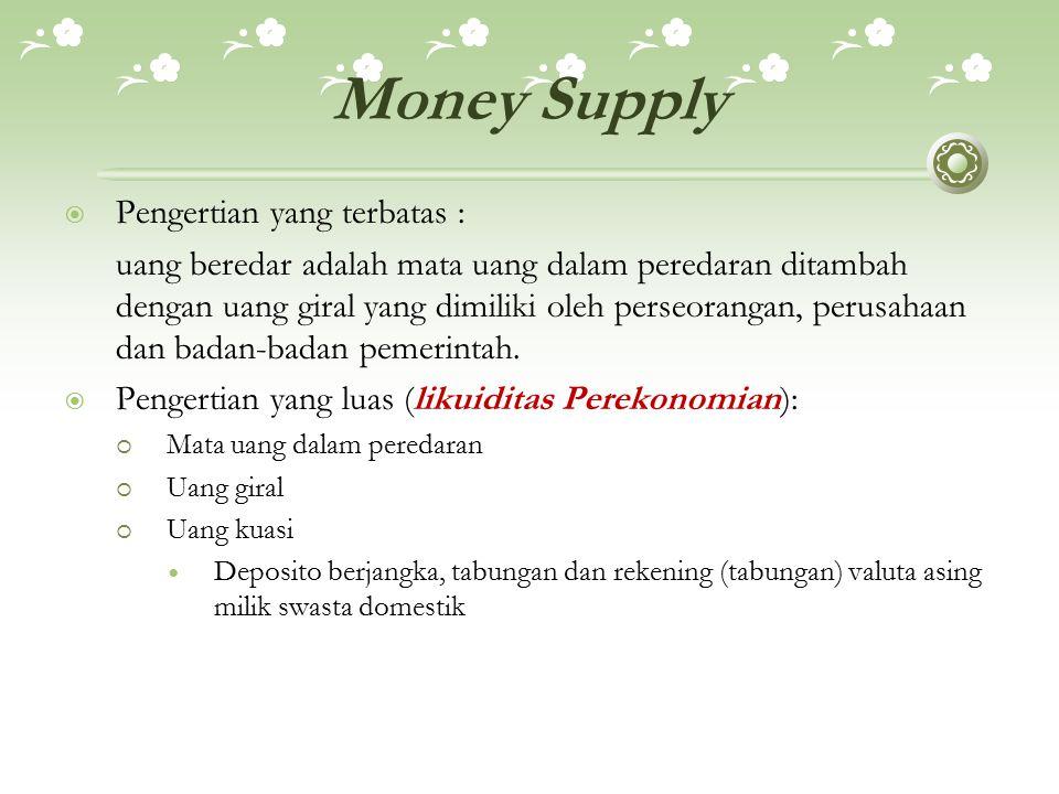Money Supply  Pengertian yang terbatas : uang beredar adalah mata uang dalam peredaran ditambah dengan uang giral yang dimiliki oleh perseorangan, perusahaan dan badan-badan pemerintah.