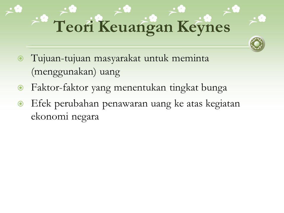 Teori Keuangan Keynes  Tujuan-tujuan masyarakat untuk meminta (menggunakan) uang  Faktor-faktor yang menentukan tingkat bunga  Efek perubahan penaw