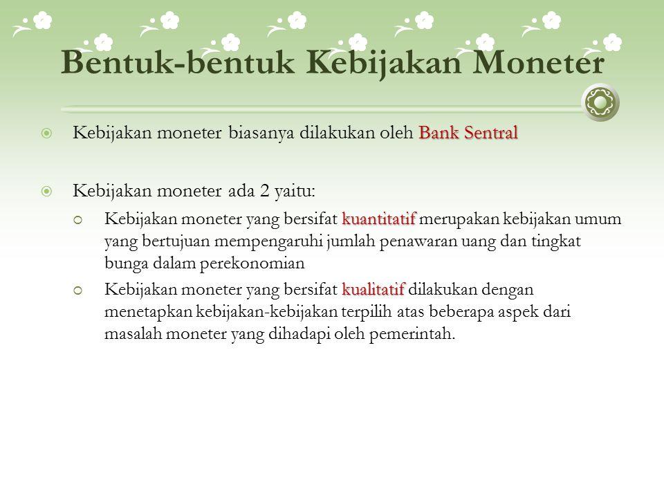 Bentuk-bentuk Kebijakan Moneter Bank Sentral  Kebijakan moneter biasanya dilakukan oleh Bank Sentral  Kebijakan moneter ada 2 yaitu: kuantitatif  K