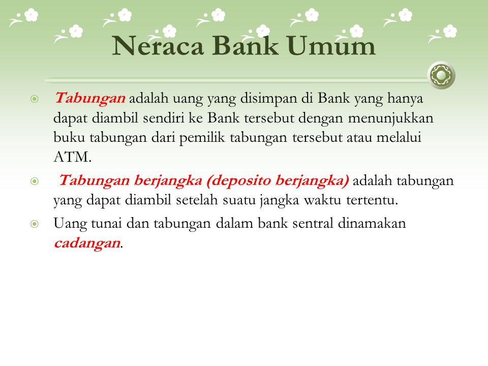 Neraca Bank Umum  Tabungan adalah uang yang disimpan di Bank yang hanya dapat diambil sendiri ke Bank tersebut dengan menunjukkan buku tabungan dari