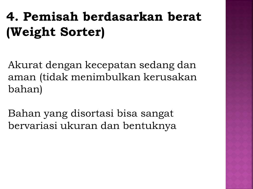 4. Pemisah berdasarkan berat (Weight Sorter) Akurat dengan kecepatan sedang dan aman (tidak menimbulkan kerusakan bahan) Bahan yang disortasi bisa san